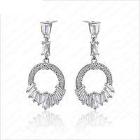 best jewelry store - 2016 Best Seller Jewelry Store Drop Earrings Platinum Plate Micro Inlay Cubic Zirconia Bride Jewelry Earrings