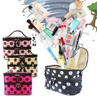 Wholesale Hot New Women Portable Cosmetic Retro Dot Pattern Mirror Beauty Makeup Case Bag