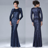 Wholesale 2017 new high end custom in sexy long sleeved sequined dress new mermaid floor length evening dress