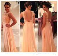Cheap Free Shipping Beautiful Peach Color New Fashion Lace Floor Length Long Chiffon Nude Back Bridesmaid Dress Brides Maid Dress