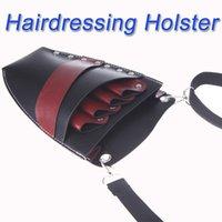 Wholesale New Arrival Leather Barber Scissor Bag Salon Hairdressing Holster Pouch Rivet Clips Holder Case with Waist Shoulder Belt