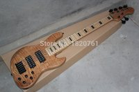 Wholesale maple neck Earth logo string bass Burlywood electric bass with active pickups