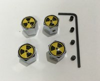 Wholesale 4pcs set nuclear bomb sign pattern Metal Anti theft Style Car Wheel Tire Valves Tyre Dust Caps for all car