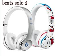 Wholesale Lovely Refurbished hello kitty Beats Solo2 Headphone Active Collection HD Stereo Wired Mobile Cellphone Solo2 Earphone Headset Drop shipping