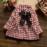 Wholesale 2016 Autumn girl children Houndstooth coat fashion warm plaid kids clothing with cute bow and laceZJ1177