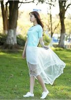 Wholesale New Summer Women Sexy Lace Skirts Womens Fashion Long Section Skirt Jupe Tulle Black and White Short Skirt