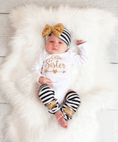 baby onesies - baby gold letters clothes newborn girls headband long sleeve romper leggings infant cotton onesies jumpsuit clothing autumn bodysuits A592