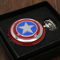 america watch box - Captain America Cosplay Avengers Shield America Quartz Necklace Pocket Watch with Gift Box P497 WB08