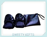 ballet shoe manufacturers - Black Soft PU Promotional Gifts Foldable Ballets Shoes In Pouch Customer Logo OEM Manufacturer Small Order Accepted on Wedding Party