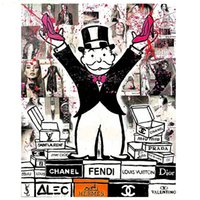 Wholesale Alec monopoly fashion king Pure Hand Painted Modern Home Decor Cartoon Art Oil Painting Canvas customized size accepted aliMYT