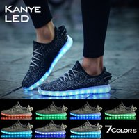 Wholesale New fashion led shoes seven light colors with USB charge Unisex lovers flashing shoes for party and sport with box