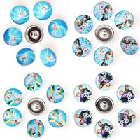 anna mix - Mixed mm Glass Beads Snow Queen Elsa Anna Snaps Buttons Fit DIY Snaps Bracelets Necklaces For Women Men Jewelry Accessories TZ702