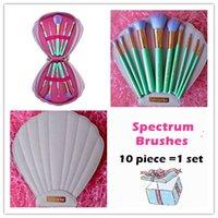 glam - set NEW Spectrum Brushes Mermaid Dreams Piece Vegan Brush Set Glam Clam Case Pink Color VS Hello kitty Brush