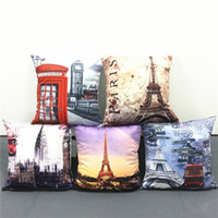 big ben cushion cover - European Vintage Style Cushion Cover Scenic Paris Eiffel Tower British Big Ben Telephone Booth Cushions Covers Soft Short Plush Pillow Case