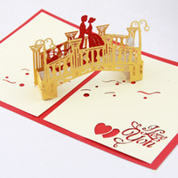 Wholesale Lover bridge Pop up card D card handmade gift valentines card valentines gift