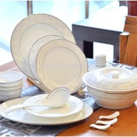 Wholesale Silver Cube bone china crockery cutlery sets jingdezhen ceramics wedding housewarming cutlery sets