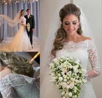 Wholesale 2017 Vestidos De Noiva Spring Romantic Applique Lace Wedding Dresses Vintage Long Sleeves A Line Bridal Gown Beach Wedding Gowns Robe
