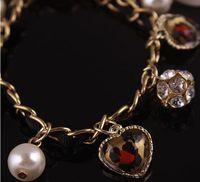 anniversary knitting - Retro Leopard Heart Bracelet Pearl Love Bow Knitted Bracelet Gold Plated Crystal Pearl Bracelets Love Heart