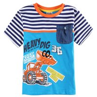 Wholesale Hot Sales Fashion Boys T shirts Kids Clothing Letters Cotton Cloth Tees Y Blue Navy Stripes Pockets Summer Sporty Short Sleeves Cartoon