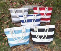 american recycling - Free DHL New Fashion Canvas Women Printed Stripe Zig Zag Joint Color Handbag Causal Recycle Foldable Shopping Bag Beach Bag Tote