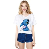 animal ladies clothing - Lilo Stitch T Shirt Short Sleeve Sexy Crop Top T Shirt Womans Clothing with Modal Material for Ladies TM1011
