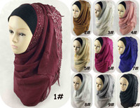 beautiful hijabs - Plain Viscose Hijab High Quality jersey hijabs Caps Silk Muslim Beautiful Wedding Gift With Diamond Flower shaped Lace Scarf C41