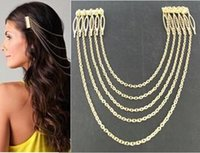 Wholesale Hair Jewelry Fashion Women Punk Gold Silver Plated Alloy Chains Tassel Wedding Hair Combs SHR290