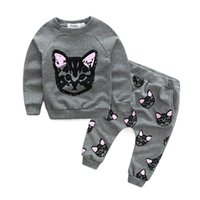 baby cat suit - kids girls cats clothes baby pieces clothing toddler spring autumn sets children casual sweater skirts suit TZ585