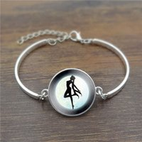 beautiful moon pictures - Beautiful Glass Cabochon Dome Charm Bracelet Sailor Moon Picture Fashion Jewelry Silver Bangle Bracelets Adjustable