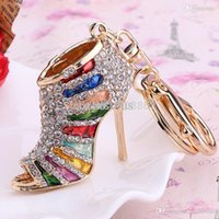 jewelry shoe holder - Charm Jewelry Crystal High Heel Key chains Ring Fashion Rhinestone Shoe bag Keychain Keyring Women Handbag Pendant key holder