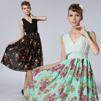 balls hits - The New V neck Dress Skirt Elastic Waist Big Yards Hit Color Dress And With Fast Shipping