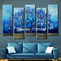 Cheap Hand Painted Modern Abstract Blue Canvas Oil Painting Tree Picture 5 Piece Wall Art Large Wall Painting Home Decoration Set