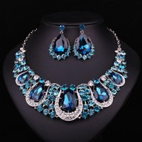 decoration jewelry colors - Fashion Indian Jewellery Sapphire Crystal Necklace Earrings Bridal Jewelry Sets For Brides Party Wedding Accessories Decoration