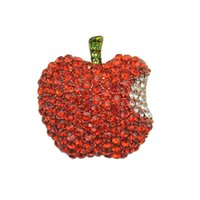 apple sweaters - Red Rhinestone Apple Brooch Up Women s Sweater Fashion Collar Jewelry Brooches Pins Cute Korean Scarf Buckle Hat Accessories
