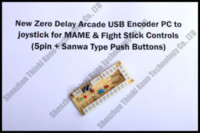achat en gros de boutons d'arcade happ-Marque New Zero Retard Arcade USB Encoder PC Joystick pour MAME HAPP Lutte Controls Stick 5PIN + Sanwa boutons-poussoirs
