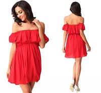 Wholesale Cheap Women Dress Blouses - 2016 New Arrival Bohemian Style Short Summer Blouses Shirts Elegant Off Shoulder Red Mini Short Women Casual Cheap Dresses