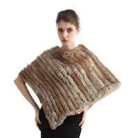 Wholesale Queenfur Genuine Knitted Rabbit Fur Poncho Real Rabbit Fur Shawl Winter Coat