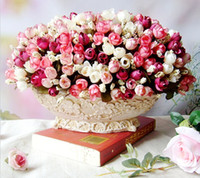 autumn bouquets - Autumn heads bouquet small bud roses bract simulation flowers silk rose decorative Flowers Home decorations for Wedding HJIA212