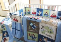 baby bedding dinosaur - Cotton d embroidery dinosaur rockets submarine car Baby Crib Bedding Set Quilt Bumper Bed Skirt Fitted Baby Bedding set