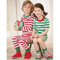 Wholesale Boy girl Christmas stripe Pajamas outfits new children cartoon tops Pants set baby stripe Suits DHL C1540