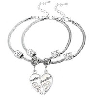 achat en gros de amour bracelet antique-5set / lot Antique Silver Mother Daughter Amour Pendentif Coeur Charm Bracelet Mode Jewelrys AS Souvenirs