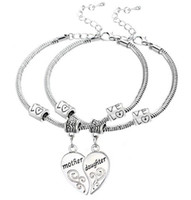 antique slide bracelets - 5Set Antique Silver Mother Daughter Love Heart Pendant Charm Bracelet Bangle Fashion Jewelrys AS Holiday Gift