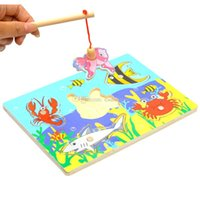 Wholesale Kids Fishing Game Wooden Ocean Jigsaw Puzzle Board Combo Magnetic Rod Toys A00063 SMAD