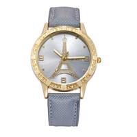 al por mayor reloj de la torre eiffel para las mujeres-Forme a mujeres del corazón del amor las mujeres de cuero de París Eiffel de la torre Eiffel del vaquero de las muchachas de las señoras de las señoras visten los relojes 100pcs / lot del ocio del cuarzo
