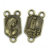 antique catholic medals - Connector Findings Rectangle Antique Bronze Virgin Mary Religious Medal Catholic Pattern Carved x8mm Mr Jewelry
