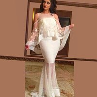 Wholesale 2016 Two in One Piece Mermaid Evening Dresses Appliqued Beaded Jewel Lace Cape Cloak Iluusion Back Sweep Length Desses