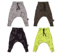 Wholesale 2016 spring child bottoms nununu kids children s boy s girl s geometric figure diamond tetrahedrons prints haren pants baggy pants trousers