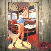 Metal Sign vintage chic lamentable Gil Elvgren camarero Pin Up placa de pared decorativa H-76 160909 #