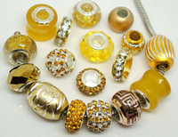 beautiful love rounds - 50pcs Beautiful Gold Charms Beads for Jewelry Making Loose Big Hole Charm DIY Beads for European Bracelet in Bulk Low Price
