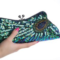 beaded purse frames - 2015 Vintage Women s Clutches Chain Evening Bags Peacock Pattern Sequins Beaded Bridal Clutch Purse luxury mini handbag party